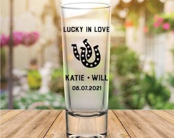 """Custom """"Lucky in Love"""" Tall Wedding Favor Shot Glasses"""