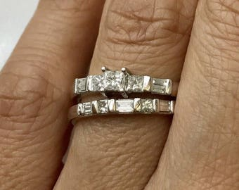 14k white gold Princess-cut and baguette diamonds ring set , bridel set, modern and dainty style