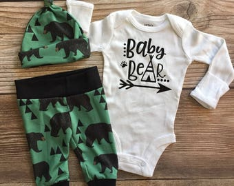 Black Bear Coming Home outfit, READY TO SHIP, newborn boy coming home outfit, baby boy coming home outfit, hello world name