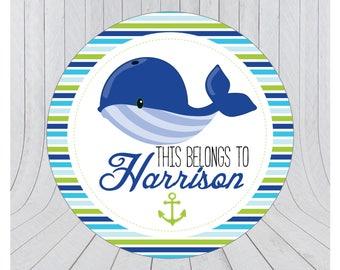 32 x Nautical name stickers, kids name stickers, kids name labels, nautical stickers, personalised name stickers, boys name sticker 090