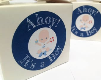 Ahoy it's a boy stickers, Nautical baby shower stickers, Ahoy it's a boy, Boy baby shower, nautical baby shower stickers 156