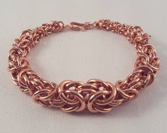 Tapered Copper Byzantine Weave Chainmaille Bracelet