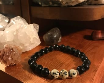 Genuine Obsidian/Dalmatian Jasper Beaded Bracelet