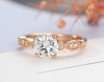 Moissanite Engagement Ring Vintage Engagement Ring Rose gold Women Wedding Antique Art deco Milgrain Diamond Bridal Jewelry Anniversary Gift