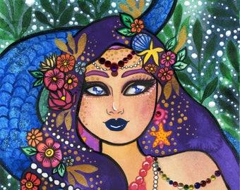 Watercolor Original - Purple Mermaid