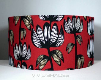 Scandinavian fabric lampshade up to 45cm sizes handmade by vivid shades, floral flowers red  funky colourful drum ceiling