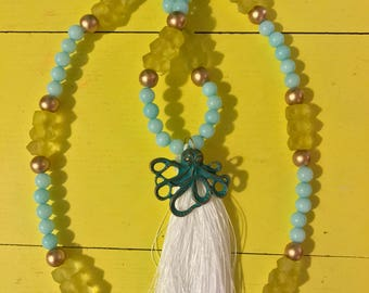 Tassel necklace with octopus pendant