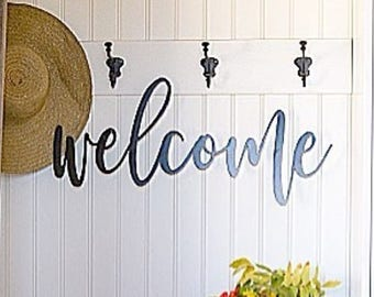 "Steel Cut ""Welcome"" Sign PETITE - PRAIRIE WOOD"