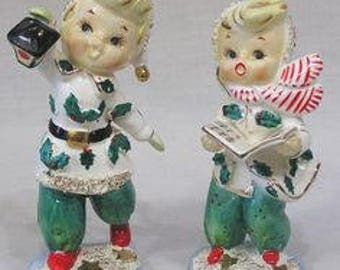 Vintage Geo. Z. Lefton Christmas Pair Holly Boy and Girl Caroler Figurines Boy with Lantern Girl with Book