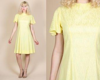 60s Floral A Line Dress - Medium // Vintage Lace Flutter Sleeve Mini Day Dress