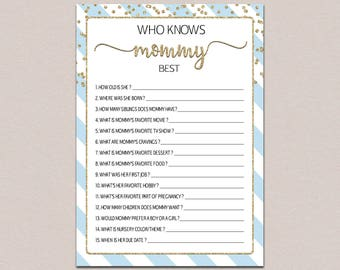 Who Knows Mommy Best Game, Blue Gold Glitter Games, Baby Shower Quiz, Blue Boy Theme, How Well Do You Know Mom to be, Fun Activities B23