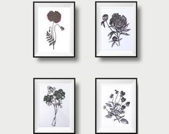 Small poster quartet - flower - screen print - 5x7 - hand made - dot work - print - silkprinted