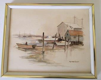 Vintage original watercolor, signed W. MacCourt, Florida artist, boats, water, dock, 20 x 16 framed
