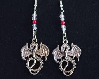 Dragon Drop Earrings With Red and White Accents