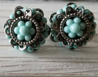 Vintage Silver/Turqouise- Colored Screw-Back Earrings