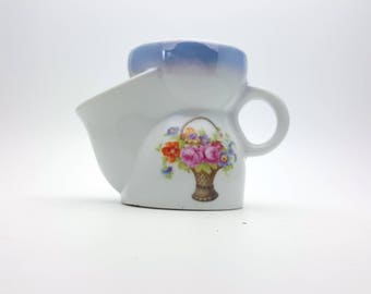 Vintage Floral Shaving Cup Scuttle Mustache Beard Grooming Porcelain Mug Two Section Soap Holder Gift for Dad Father's Day Men