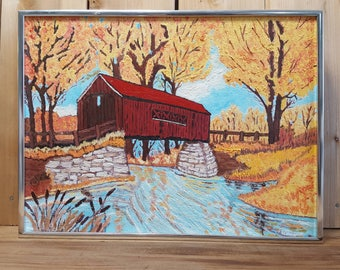 Vintage Framed Original Oil Painting Red Covered Bridge Canadian North Late Autumn Landscape From the 70s Metal Frame Wall Hanging Signed