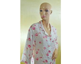 Vintage Novila ® Pour Hommes women top blouse white pink roses shirt 100% cotton