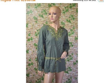 Vintage women top blouse green cotton еmbroidery