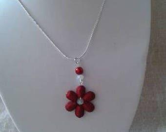 "necklace ""pretty Pearl Burgundy flower"""