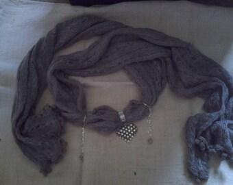 grey scarf and Heart Rhinestone