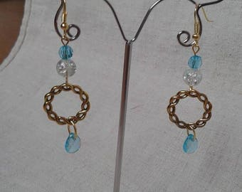 Earrings golden ring and beads