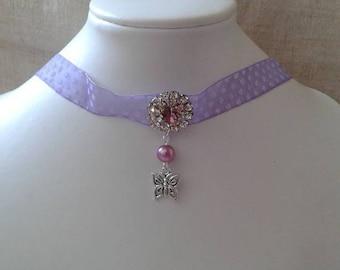 """""""Ribbon with purple dots and rhinestone jewel"""" Choker necklace"""