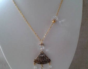 "necklace ""golden triangle and transparent beads"""