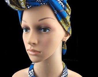 Multicolor fabric Choker and Earring