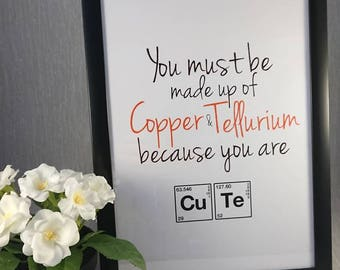 Science//Print//Chemistry inspired//Chemical Elements//Pereodic table//Personalise//Cute//Copper//Tellurium//Love/Anniversary/Gift//A4 Print