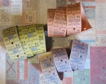 30 Mixed Vintage Bus Tickets Orange Yellow Purple