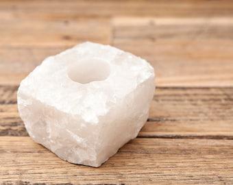 Raw Crystal Candle Holders, Clear Quartz, Rose Quartz, Sodalite