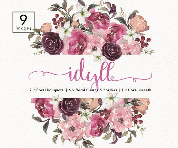 Watercolor Floral Frame Bouquet Border Header Wreath Set Clip Art Wedding Invitation Boho Burgundy Flower Collection Individual PNG
