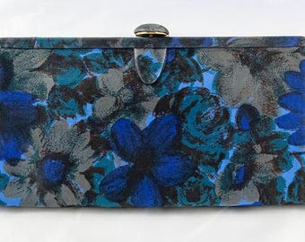 Midnight Garden 1960s Satin Clutch Bag by Waldman with Mirror and Comb Inside