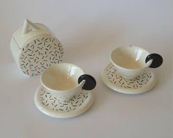 Ceramic Coffee Set Very Rare MAS of Italy Stunning Black Red and White Contemporary Design