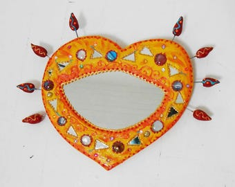 "Mirror ""orange heart '"" 36 x 29 cm"