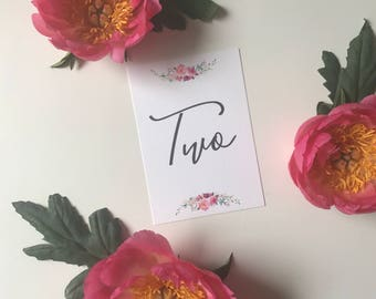 Printable Floral Table Numbers - Wedding - Calligraphy - PDF
