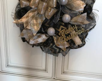Merry Christmas Black and Gold Deco Mesh Wreath