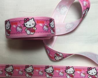 Grs grain Pink Ribbon hello kitty cat pink and white customisation