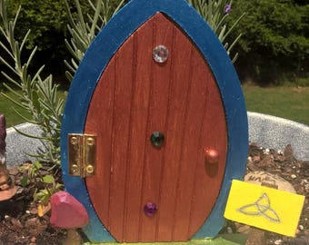 Small wooden Fairy Door with magical Fairy symbols!  Indoor or Outdoor!