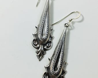 Ornate Silver Plate Drop Earrings by Ten Dollar Studio where all items are always Ten Dollars.