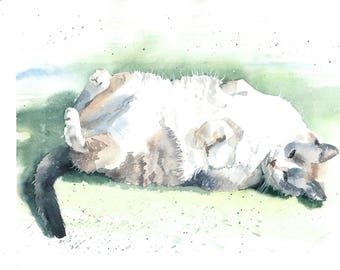 Custom cat portrait in watercolor from photo, cat commission art, memory