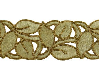 """Metallic Embroidery Trim, Indian Leaf Design, Designer Dress Border, Craft Supplies Accessories, 2"""" Inch Wide Ribbon By The Yard FT1048B"""