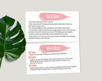 LipSense® How To Apply, Lipsense® Tips and Tricks, Business Card Size, Application Senegence® Tips, Pink Brush Stroke, DIGITAL 3.5x2