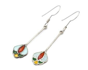 Art Nouveau Enamel Earrings, Long Flower Dangle Earrings, Antique 1930s Enamel Jewelry, 925 Sterling Silver, Colorful Flowers Drop Earrings