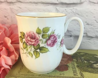Duchess Edithe Pink Roses Coffee Cup Mug Vintage Fine Bone China Porcelain Lovely! Made in England