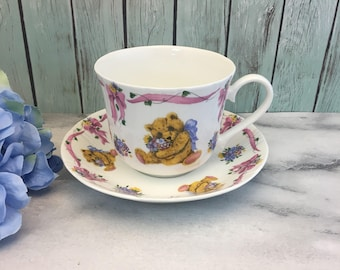 Teddies Bouquet by Roy Kirkham XL Tea Cup and Saucer Teddy Bear Pink Ribbon Flowers Breakfast Size Vintage England Made Lovely
