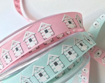 Beach hut ribbon, aqua, Berties Bows, craft ribbon, seaside themed ribbon, beach huts
