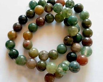 "Fancy Jasper round beads 8mm 16"" strand"
