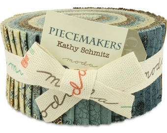 MODA Piecemakers Jelly Roll by Kathy Schmitz, Precut Fabric, Cotton Strips, 40 2.5x44-inch fabric strips